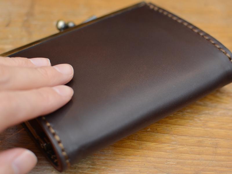 がま口 コンパクト財布 コードバン