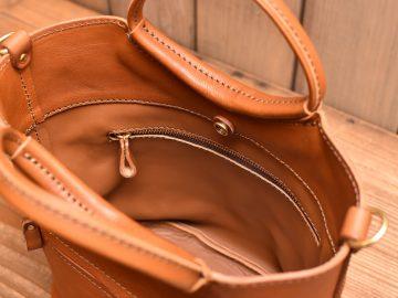 リング取っ手のハンドバッグ 内ポケット