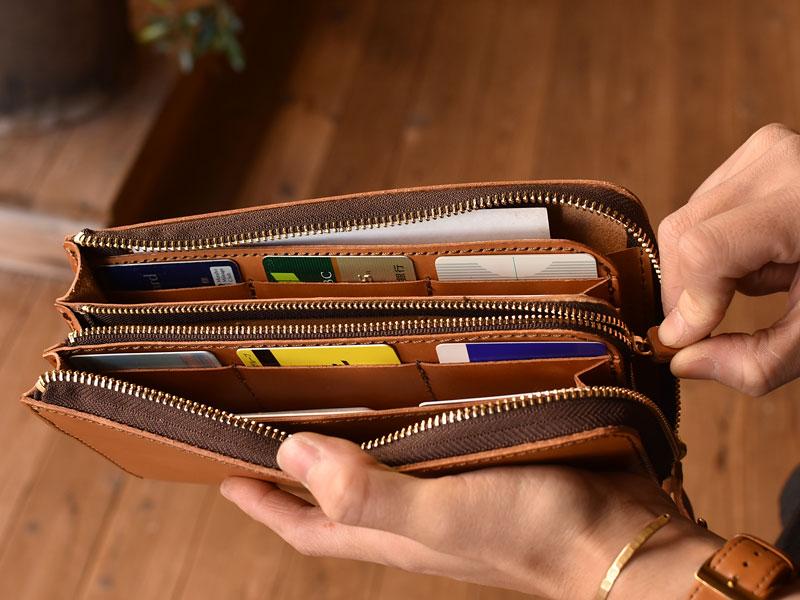 L字ファスナーの長財布 小銭入れ