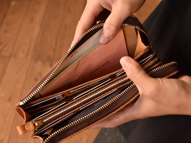 L字ファスナーの長財布 両側の収納