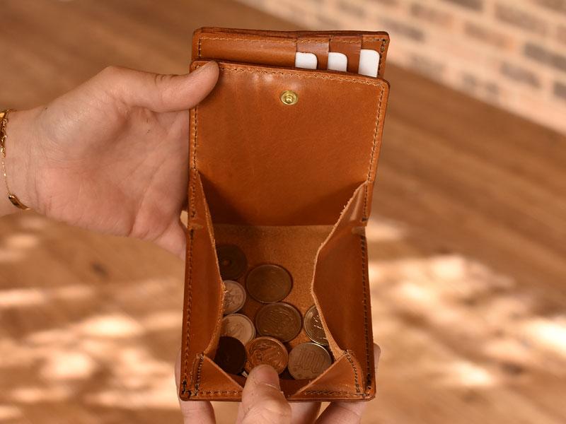 サドルプルアップを使った二つ折り財布 小銭入れ