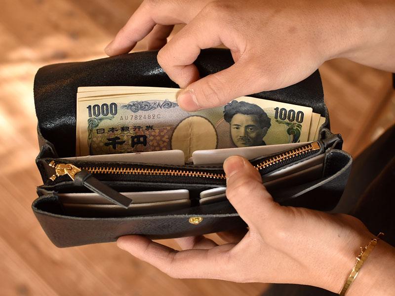 かぶせの長財布 お札入れ