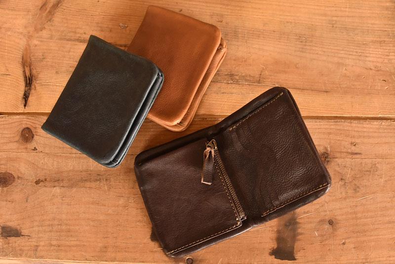 ユーフラテの二つ折り財布 ファスナータイプ革色