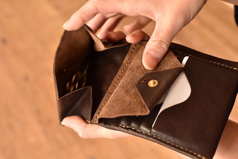 ユーフラテの二つ折り財布 ホックタイプ小銭入れ